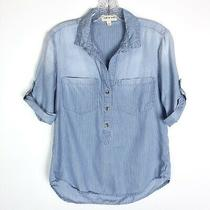 Anthropologie Cloth & Stone Womens Popover Shirt Blue Stripe Roll Tab Size Small Photo