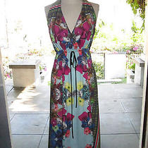 Anthropologie Clover Canyon Halter Dress Floral Print Xs/s Photo