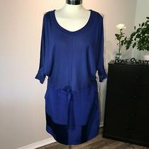 Anthropologie Cluny Cold-Shoulder Patchwork Silk Blue Dress Nwt 298 Photo
