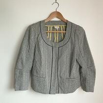 Anthropologie Collarless Geometric Print Jacket Coat Black Grey Womens Size 8 Photo