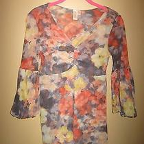 Anthropologie Daisy & Clover Floral Lined Mesh Blouse/ Top/ Shirt Size M Euc Photo