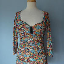 Anthropologie Daisy & Clover Floral Pleated Stretchy Scoop Top Blouse Women M Photo