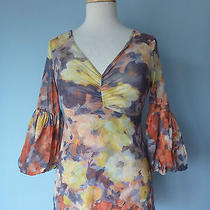 Anthropologie Daisy & Clover Floral Pleated Stretchy Top Blouse Women Size M Photo