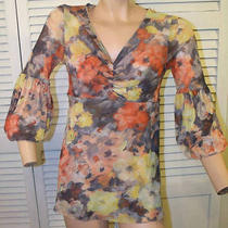 Anthropologie Daisy & Clover Orange Yellow Gray Floral v Neck Top L Photo