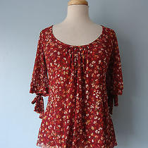 Anthropologie daisy&clover Red Stretchy Floral Top Blouses Women Size S Lined Photo