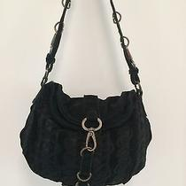 Anthropologie David Scotti Crescent Hobo Shoulder Bag Black Suede Lace Romantic Photo