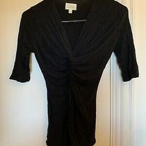 Anthropologie Deletta 3/4 Sleeve Cinched Knot Top S Black Photo