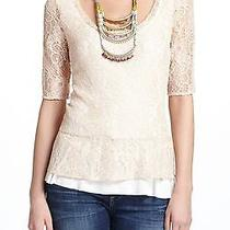 Anthropologie Deletta Blush Lace Overlay Peplum Top Large  Photo