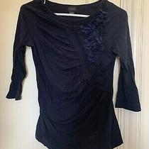 Anthropologie Deletta Floral Frappe Top S Navy Photo