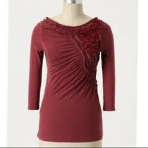 Anthropologie Deletta Floral Frappe Top S Red Photo