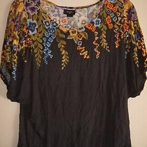 Anthropologie Deletta Hanging Gardens Floral Dolman Sleeve Gray Top Size S Small Photo