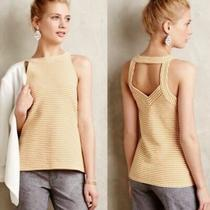 Anthropologie Deletta Isa Yellow White Striped Cut Out Top Tank S  Photo
