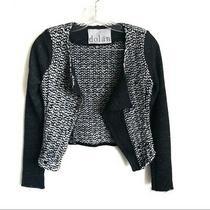 Anthropologie Dolan Silk and Leather Cropped Open Blazer Size Xs Photo