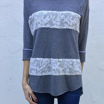 Anthropologie Dolan T-Shirt Embroidered Lace Stripe Top Large Soft Sweatshirt Photo