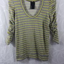 Anthropologie Dolan T-Shirt Top Gray Yellow Striped Ruched 3/4 Sleeves Size S Photo