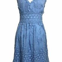 Anthropologie Dress Blue Lace Sleeveless v Neck a-Line Ranna Gill Veronica M Photo