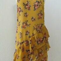 Anthropologie Dress Yellow Floral Ruffle New Size Medium Chiffon Feminine Boho Photo