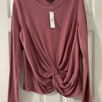 Anthropologie Drew Blush Mauve Front Twist Knot Sweatshirt Nwt Size Large Photo