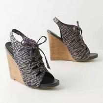 Anthropologie Due Farina Lace-Up Wedges Blue Size 6 Photo