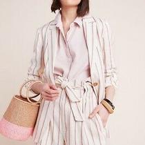 Anthropologie Edisto Striped Blazer 2 & Paper Bag Waist Shorts 6  Photo