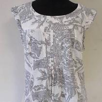 Anthropologie Edme & Esyllte White Cotton Black Bird Fish Top 10 Photo