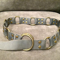 Anthropologie Elemental Brass Ring Grommets Leather Belt Slate Blue Grey  Photo