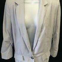 Anthropologie Elevenses Blazer Linen Blue Boyfriend Jacket Career Sz 8 Photo