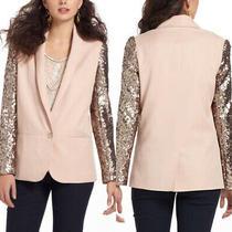 Anthropologie Elevenses Blush Sequin Blazer One Button Jacket Size 12 Photo
