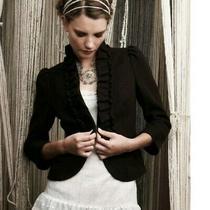 Anthropologie Elevenses Boucle De Souffle Brown Wool Blend Jacket/blazer Size 0 Photo