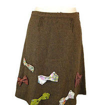 Anthropologie Elevenses Bow Tie Skirt Sz 4 S Brown Wool Silk Blend a Line Photo