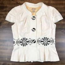 Anthropologie Elevenses Cream Linen Embroidered Short Jacket Blazer Size 4 Photo
