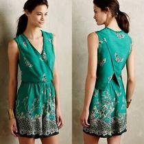 Anthropologie Elevenses Green Butterfly Print Romper M Open Back Photo