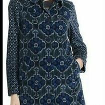 Anthropologie Elevenses Jacket Coat Size 2 Velvet Ikat Blue Vintage Style. Photo