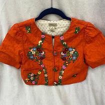 Anthropologie Elevenses Orange Silk Floral Embroidered Bolero Jacket Size 6 Photo