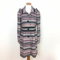 Anthropologie Elevenses Pattern Makers Striped Coat Pink Gray Bows Womens Sz 8 Photo