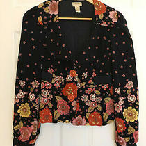 Anthropologie Elevenses Small Blazer Size 4 Floral Pink Red Yellow Black Retro Photo