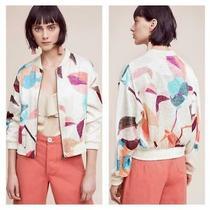 Anthropologie Elevenses Sz Med Geo Bomber Jacket Silky Multicolor Front Zip New Photo