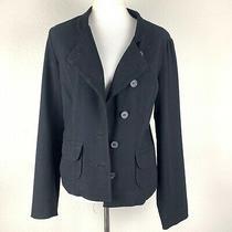 Anthropologie Elevenses Womens Jacket Blazer Sz Medium Black Solid Long Sleeves Photo