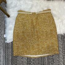 Anthropologie Elevenses Yellow Gold Swirl Aline Skirt W/ Woven Belt Size 14 Plus Photo