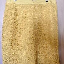 Anthropologie Elevenses Yellow Lace Skirt Size 6 Photo