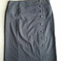 Anthropologie Elevensies Side Button Knee Length Pencil Skirt Gray Sz 8 Photo