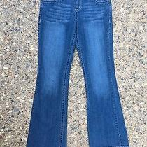 Anthropologie Embroidered Blue Jean Stretch Broken in Bootcut Pants Distressed Photo