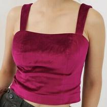 Anthropologie Emmanuelle Cropped Velvet Tank Pink Dressy Dolly Zipped Lined Top Photo