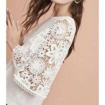 Anthropologie Eri  Ali Samara Top M Medium Blush Pink Crochet Lace Puff Sleeve Photo