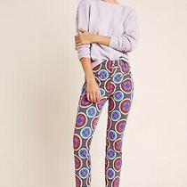 Anthropologie Essential Slim Trousers Abstract Pants Size 2 - 60s 70s Photo