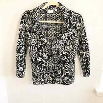 Anthropologie Etttwa Floral Black Cardigan Size Xs Photo