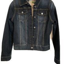 Anthropologie Ett Twa Women's M Cropped Dark Medium Wash Denim Jacket Photo