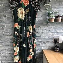 Anthropologie Farm Rio Stunning Bottle Green & Multi Floral Midi Dress S 10/12 Photo