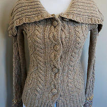 Anthropologie Femme Fisherman Cardigan Sweater Sleeping on Snow Cabled Tan Xs Photo