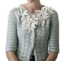 Anthropologie Field Flower Cardigan Starflower Sweater Blue Crochet Loose Knit Photo